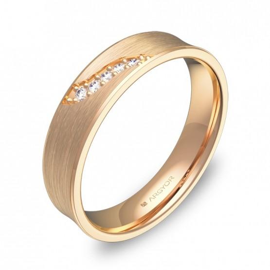 Alianza de boda cóncava en oro rosa satinado con diamantes C1145S5BR