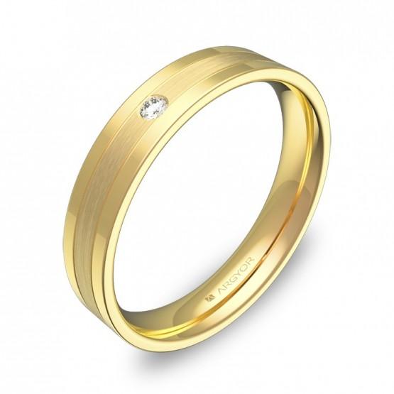 Alianza de boda oro combinado plana con ranuras y diamante C2540C1BA
