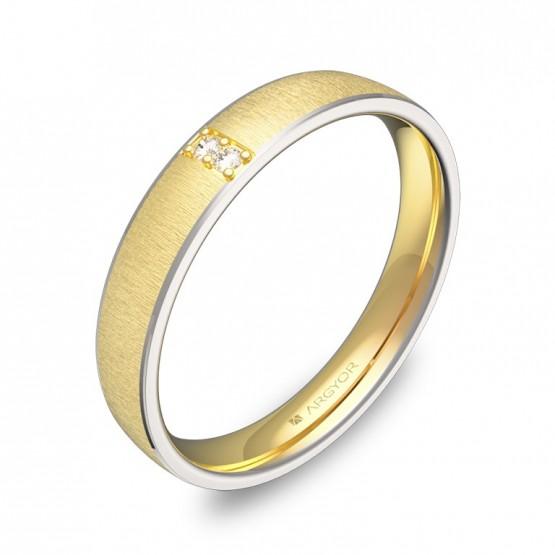 Alianza de boda con biseles en oro bicolor con diamantes D3235T2BA