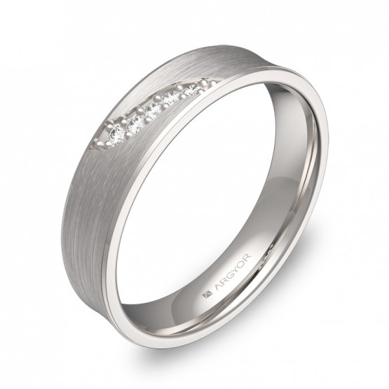Alianza de boda cóncava en oro blanco satinado con diamantes C1145S5BB