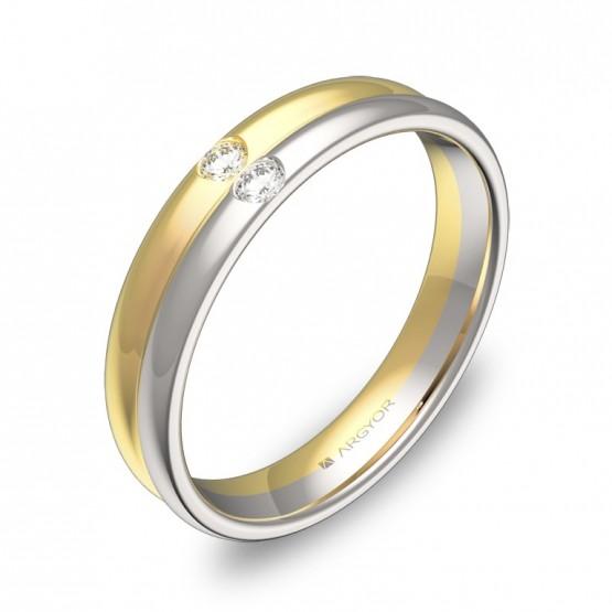 Alianza de boda doble media caña oro bicolor con diamantes D0940P2BA
