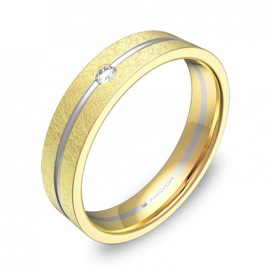 Alianza de bodas 4,5mm en oro bicolor hielo y diamante D2945H1BA