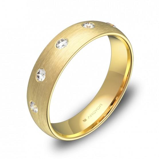 Alianza de boda de media caña gruesa 5mm en oro 5 diamantes A0150S5BA