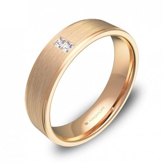Alianza de boda en oro rosa plana con biseles con diamantes C0150C2PR