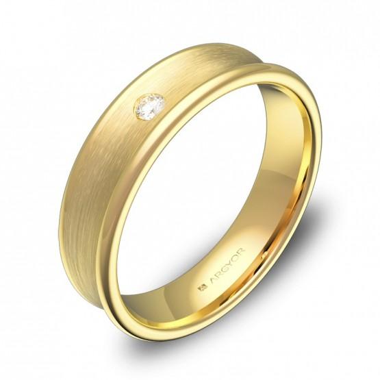 Alianza de boda cóncava en oro amarillo con diamante C0750C1BA