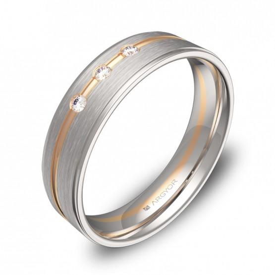 Alianza de boda en oro 18k bicolor combinado con diamantes D0850C3BR