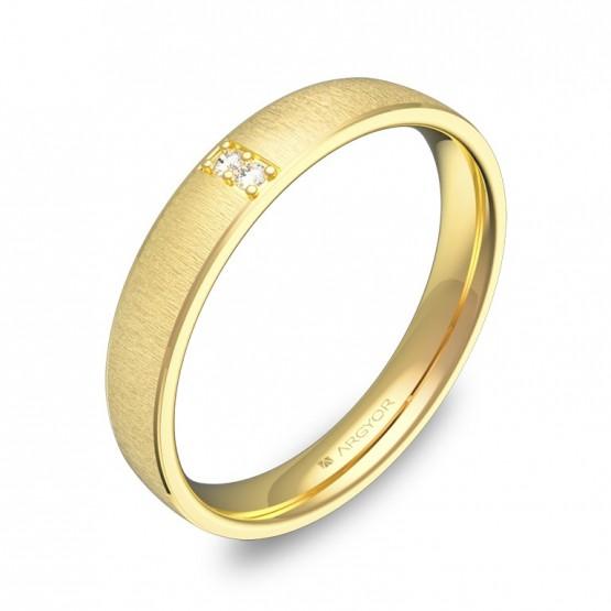 Alianza de boda con biseles en oro texturizado con diamantes C3235T2BA