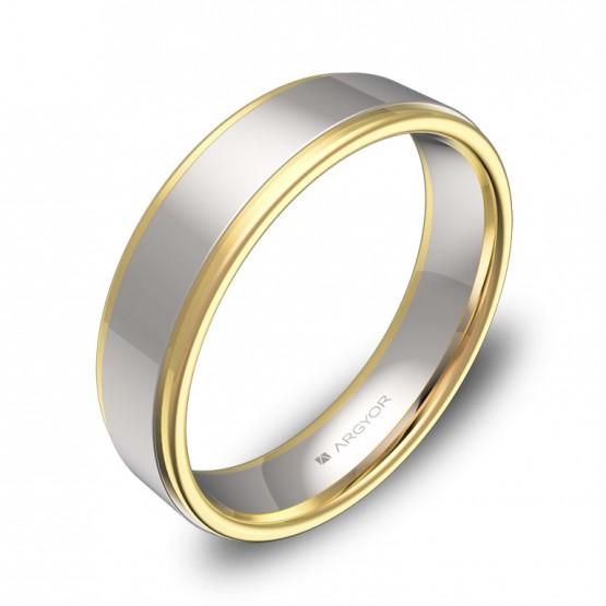 Alianza de boda plana con biseles 5mm en oro bicolor pulido D1850P00A