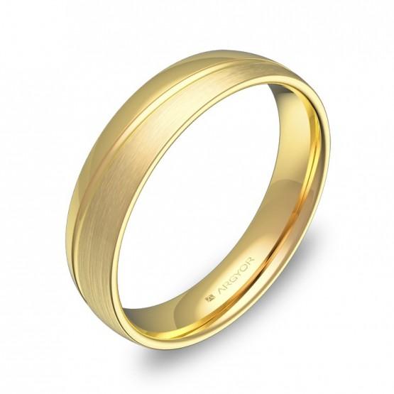Alianza de boda de media caña con ranuras en oro combinado C1945C00A