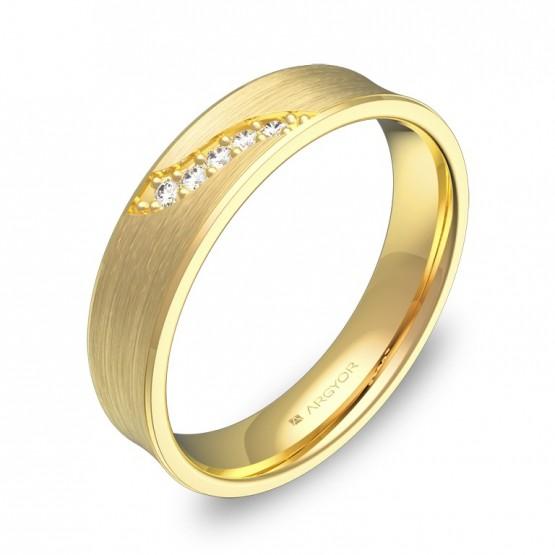Alianza de boda cóncava 4,5mm en oro amarillo con diamantes C1145S5BA
