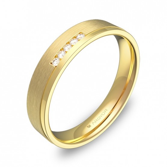 Alianza de boda con ranuras 4mm en oro amarillo 5 diamantes C1440C5BA