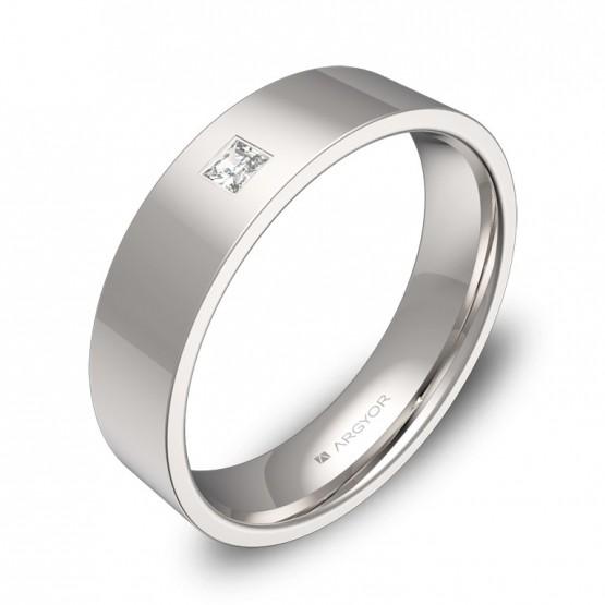 Alianza de boda 5,0mm oro blanco pulido con diamante B0150P1PB