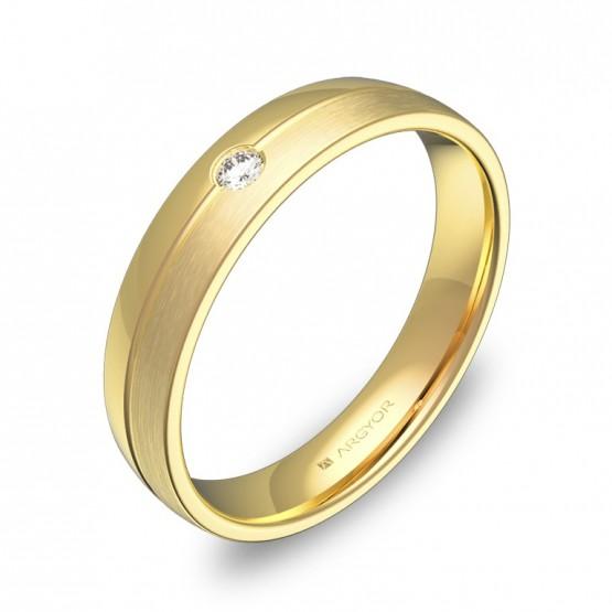 Alianza de boda en oro combinado con ranuras y diamante C0540C1BA