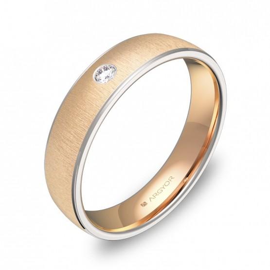 Alianza de boda media caña con biseles oro bicolor y diamanteD0645T1BR