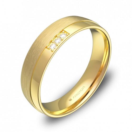 Alianza de boda en oro combinado con ranuras y 3 diamantes C2050C3BA