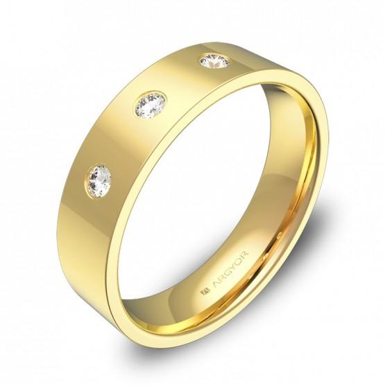 Alianza de boda 5,0mm en oro amarillo pulido 3 diamantes B0150P3BA