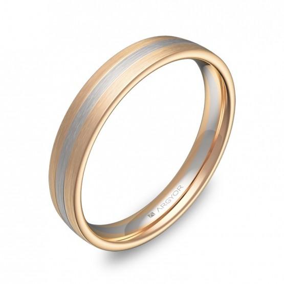 Alianza de boda de media caña con ranuras en oro bicolor D3535S00R