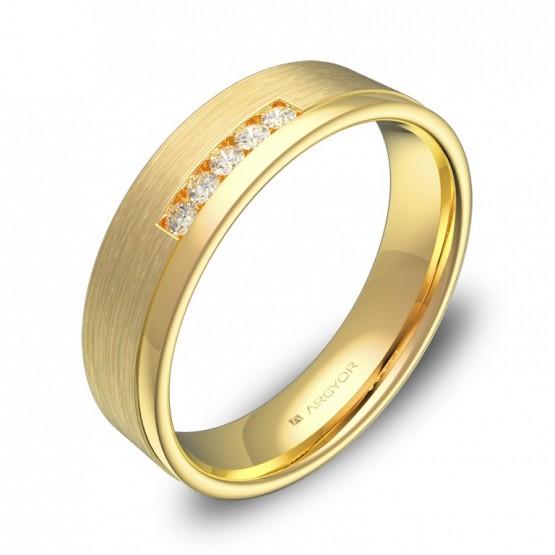 Alianza de boda con ranuras en oro combinado con diamantes C2850C5BA