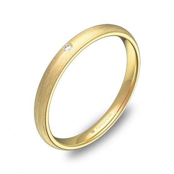 Alianza de media caña gruesa oro satinado con diamante A0125S1BA