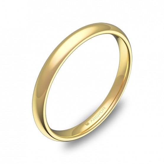 Alianza media caña gruesa 2,5mm oro amarillo pulido A0125P00A