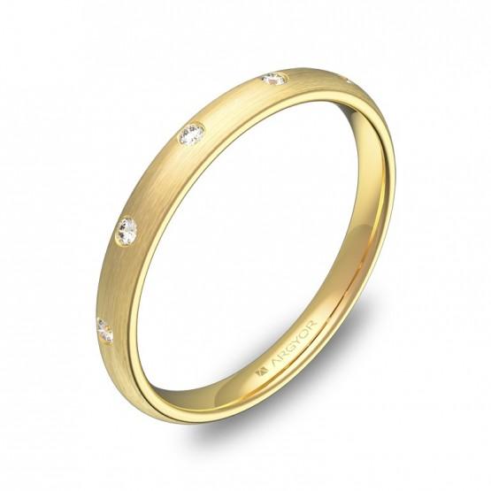 Alianza de 2,5mm en oro amarillo satinado con diamantes A0125S5BA