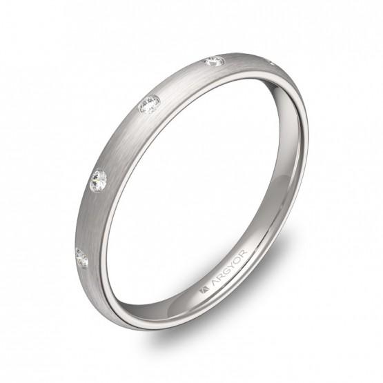 Alianza de 2,5mm oro blanco satinado diamantes A0125S5BB