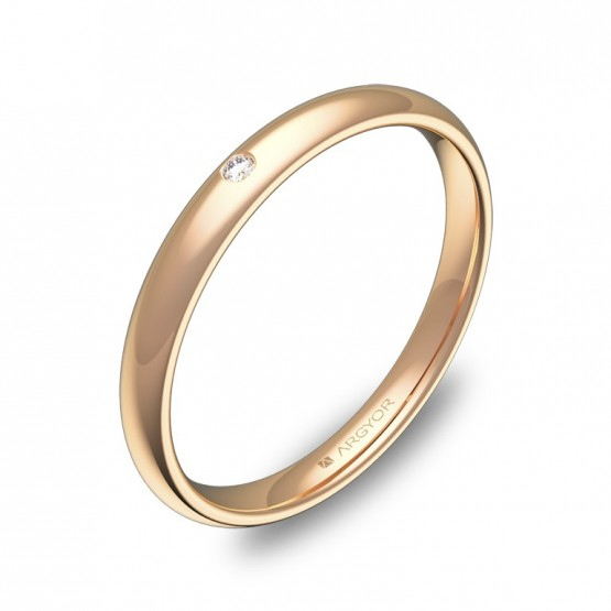 Alianza media caña gruesa 2,5mm oro rosa con diamante A0125P1BR