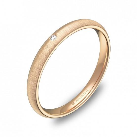Alianza de media caña gruesa 2,5mm oro rosa con diamante A0125T1BR