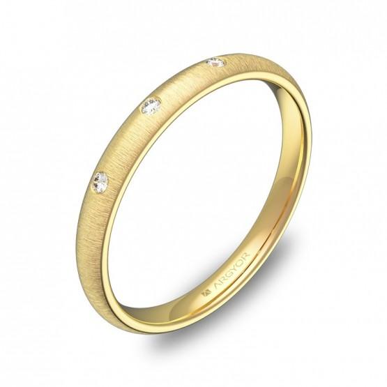 Alianza de boda 2,5mm en oro amarillo rayado con diamantes A0125T3BA
