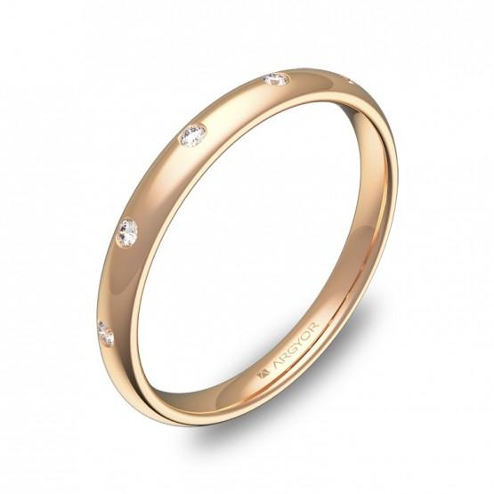 Alianza media caña 2,5mm oro rosa pulido con diamantes A0125P5BR