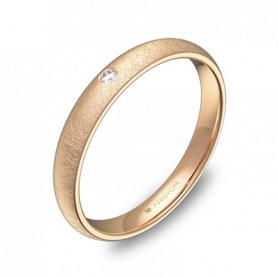 Alianza de 3,0mm en oro rosa hielo con diamante A0130H1BR