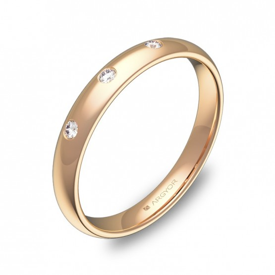Alianza de media caña gruesa en oro rosa con diamantes A0130P3BR