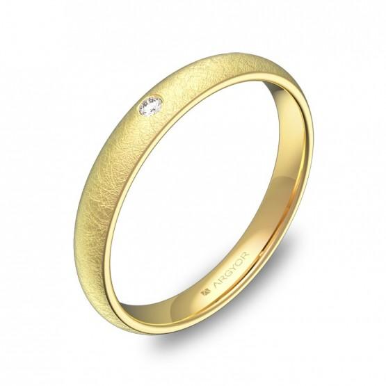 Alianza de media caña gruesa 3mm en oro hielo con diamante A0130H1BA