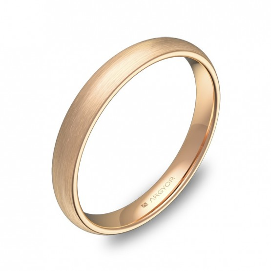 Alianza de media caña gruesa 3,0mm en oro rosa satinado A0130S00R