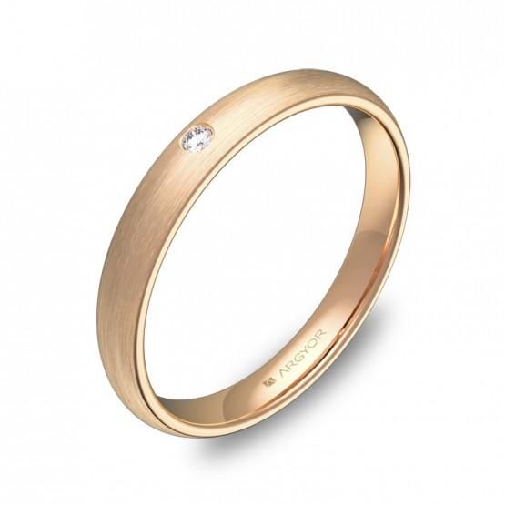 Alianza de media caña gruesa 3mm en oro rosa con diamante A0130S1BR