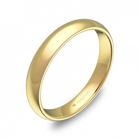 Alianza de media caña gruesa 3,5mm en oro amarillo pulido A0135P00A