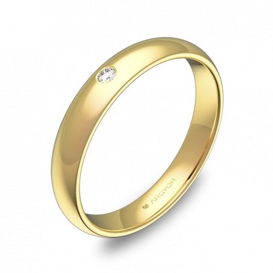 Alianza de 3,5mm en oro amarillo pulido con diamante A0135P1BA