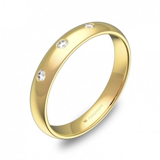 Alianza de media caña 3,5mm en oro pulido con diamantes A0135P3BA
