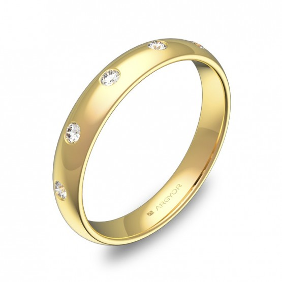 Alianza de media caña gruesa  en oro pulido con diamantes A0135P5BA