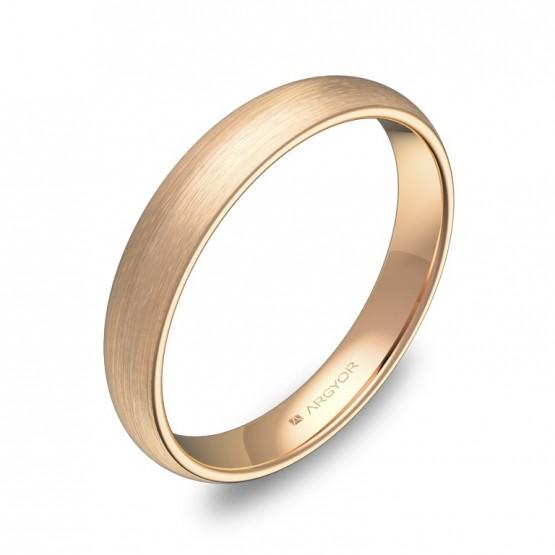 Alianza de media caña gruesa 3,5mm en oro rosa satinado A0135S00R
