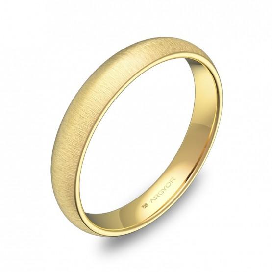 Alianza de media caña gruesa 3,5mm en oro amarillo rayado A0135T00A