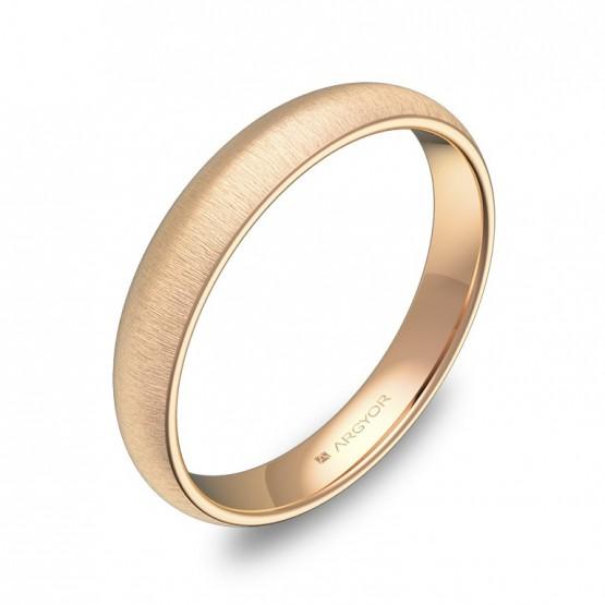 Alianza de media caña gruesa 3,5mm en oro rosa rayado A0135T00R