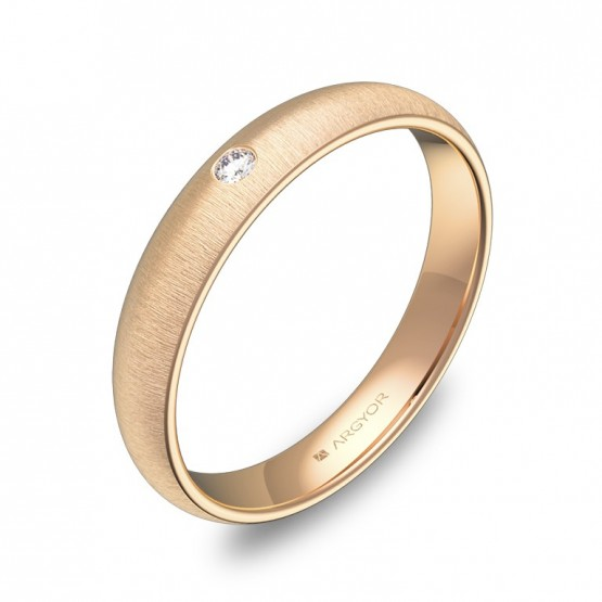 Alianza de oro rosa rayado con diamante A0135T1BR