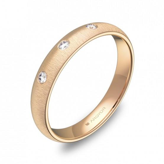 Alianza de 3,5mm en oro rosa rayado con diamantes A0135T3BR
