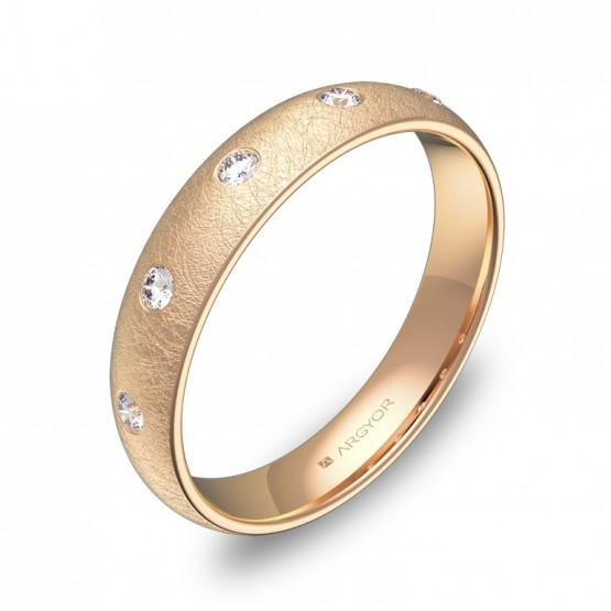 Alianza de media caña gruesa en oro rosa hielo 5 diamantes A0140H5BR