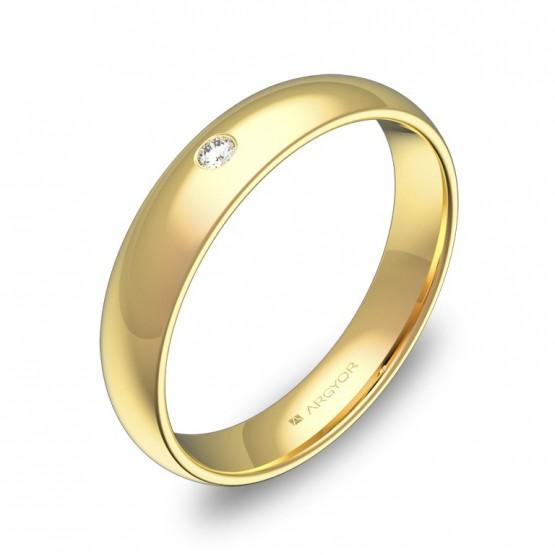 Alianza de media caña gruesa en oro pulido con 1 diamante A0140P1BA