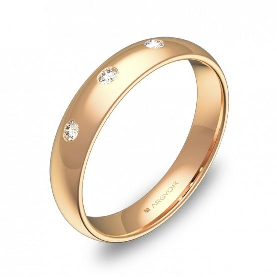 Alianza de media caña gruesa en oro rosa con diamantes A0140P3BR