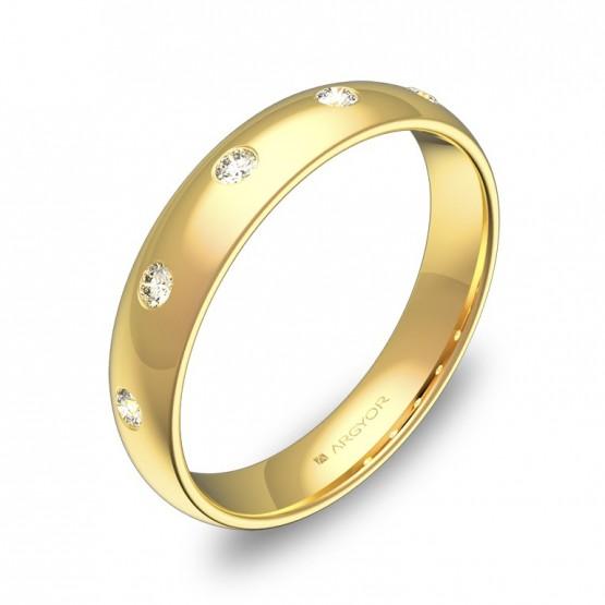Alianza de media caña gruesa en oro amarillo con diamantes A0140P5BA