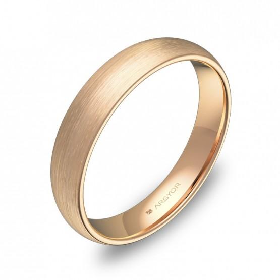 Alianza de media caña gruesa 4,0mm en oro rosa satinado A0140S00R