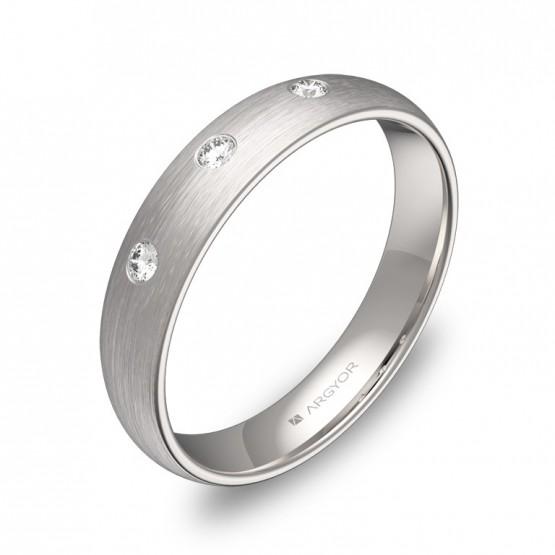 Alianza de boda 4,0mm en oro blanco satinado con diamantes A0140S3BB